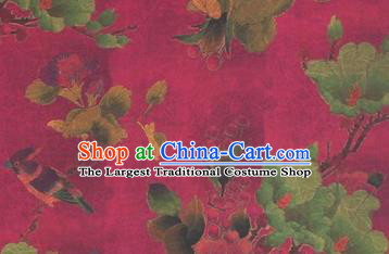Chinese Traditional Flower Bird Pattern Design Rosy Satin Watered Gauze Brocade Fabric Asian Silk Fabric Material