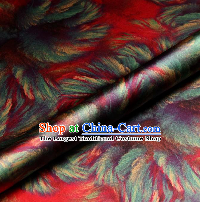 Chinese Traditional Pattern Design Red Satin Watered Gauze Brocade Fabric Asian Silk Fabric Material