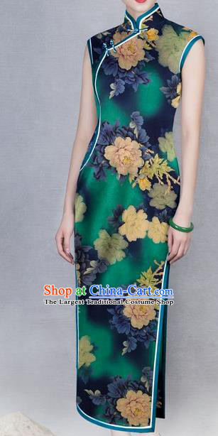 Chinese Traditional Peony Pattern Design Green Satin Watered Gauze Brocade Fabric Asian Silk Fabric Material