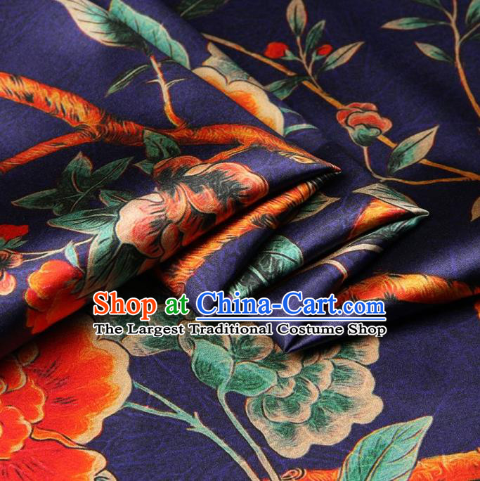 Chinese Traditional Peony Bird Pattern Design Purple Satin Watered Gauze Brocade Fabric Asian Silk Fabric Material