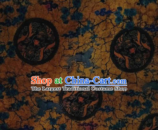 Chinese Traditional Cranes Pattern Design Yellow Satin Watered Gauze Brocade Fabric Asian Silk Fabric Material