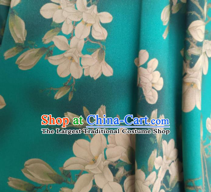 Chinese Traditional Magnolia Pattern Design Green Satin Watered Gauze Brocade Fabric Asian Silk Fabric Material