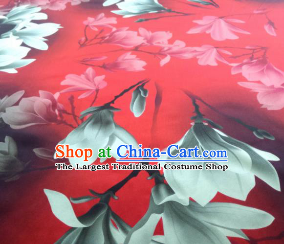 Chinese Traditional Yulan Magnolia Pattern Design Red Satin Watered Gauze Brocade Fabric Asian Silk Fabric Material