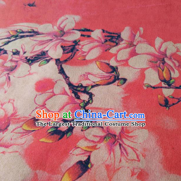 Chinese Traditional Yulan Magnolia Pattern Design Peach Pink Satin Watered Gauze Brocade Fabric Asian Silk Fabric Material