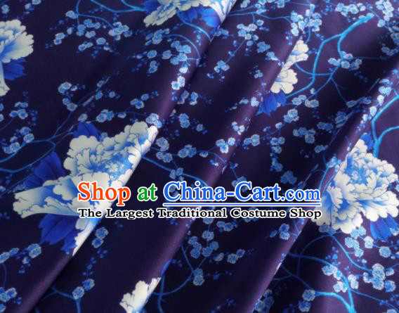 Chinese Traditional Peony Pattern Design Dark Purple Satin Watered Gauze Brocade Fabric Asian Silk Fabric Material