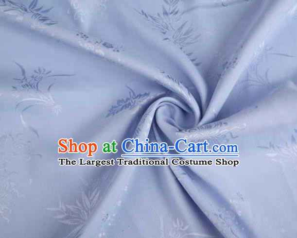 Chinese Classical Bamboo Chrysanthemum Pattern Design Lilac Brocade Traditional Hanfu Silk Fabric Tang Suit Fabric Material