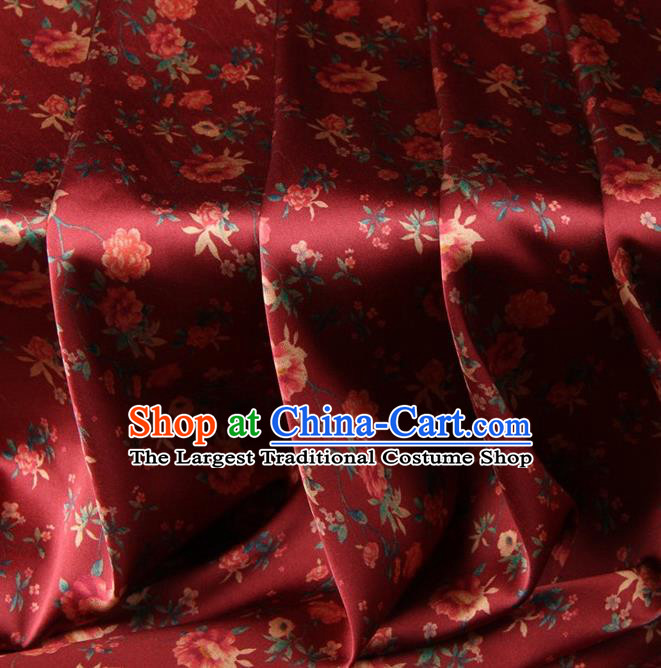 Chinese Traditional Peony Pattern Design Purplish Red Satin Watered Gauze Brocade Fabric Asian Silk Fabric Material