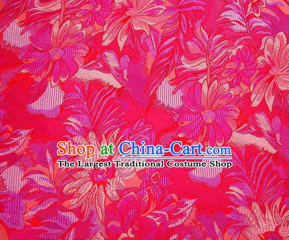 Chinese Classical Flowers Pattern Design Rosy Brocade Traditional Hanfu Silk Fabric Tang Suit Fabric Material