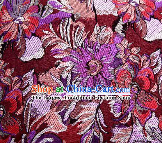 Chinese Classical Flowers Pattern Design Wine Red Brocade Traditional Hanfu Silk Fabric Tang Suit Fabric Material