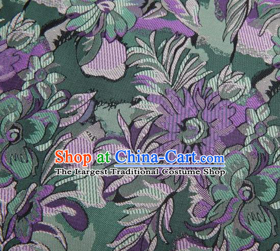 Chinese Classical Flowers Pattern Design Green Brocade Traditional Hanfu Silk Fabric Tang Suit Fabric Material