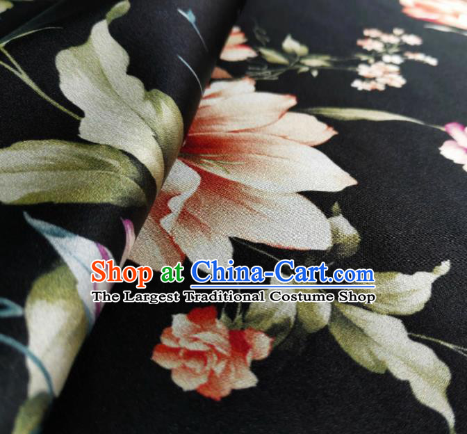 Chinese Traditional Pattern Design Black Satin Watered Gauze Brocade Fabric Asian Silk Fabric Material