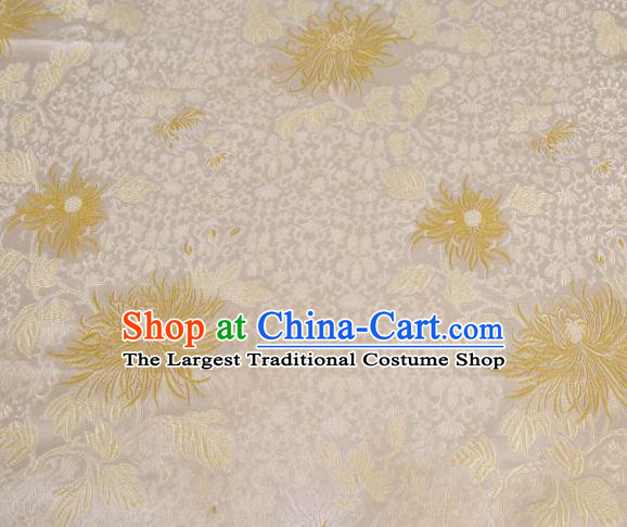 Chinese Classical Chrysanthemum Pattern Design White Brocade Asian Traditional Hanfu Silk Fabric Tang Suit Fabric Material