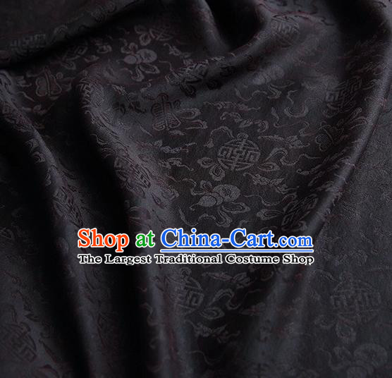 Chinese Traditional Cucurbit Pattern Design Black Satin Watered Gauze Brocade Fabric Asian Silk Fabric Material