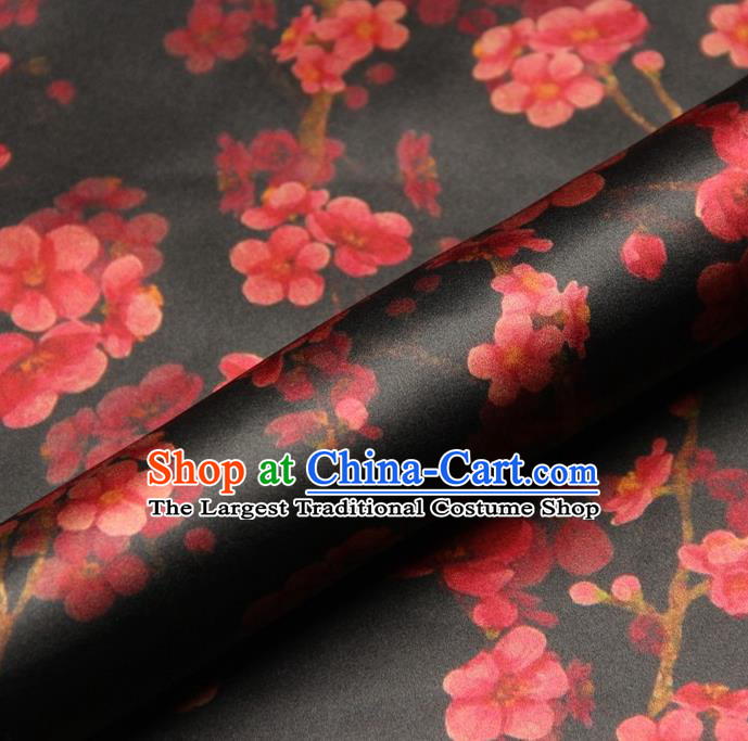 Chinese Traditional Wintersweet Pattern Design Black Satin Watered Gauze Brocade Fabric Asian Silk Fabric Material