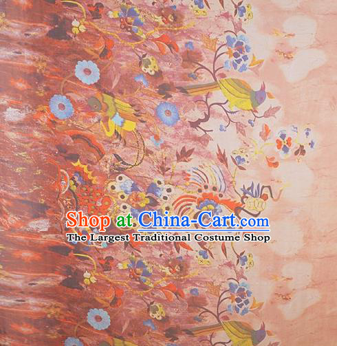 Chinese Traditional Phoenix Pattern Design Pink Satin Watered Gauze Brocade Fabric Asian Silk Fabric Material