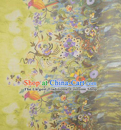 Chinese Traditional Phoenix Pattern Design Yellow Satin Watered Gauze Brocade Fabric Asian Silk Fabric Material