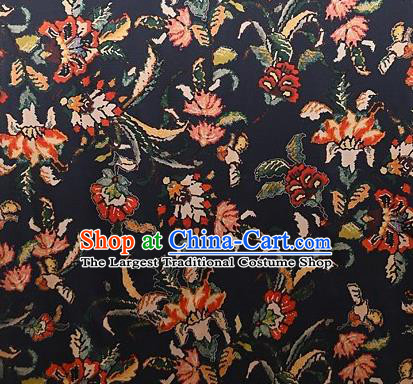 Chinese Traditional Dandelion Pattern Design Black Satin Watered Gauze Brocade Fabric Asian Silk Fabric Material