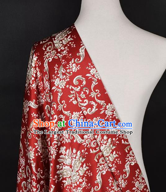 Chinese Traditional Dandelion Pattern Design Red Satin Watered Gauze Brocade Fabric Asian Silk Fabric Material