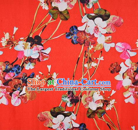 Chinese Traditional Flowers Pattern Design Red Satin Watered Gauze Brocade Fabric Asian Silk Fabric Material