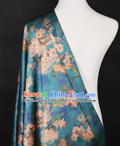 Chinese Traditional Pear Flowers Pattern Design Green Satin Watered Gauze Brocade Fabric Asian Silk Fabric Material