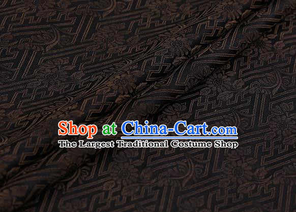 Chinese Traditional Chrysanthemum Pattern Design Brown Satin Watered Gauze Brocade Fabric Asian Silk Fabric Material