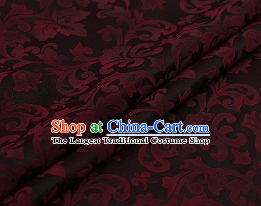 Chinese Traditional Red Grape Vine Pattern Design Satin Watered Gauze Brocade Fabric Asian Silk Fabric Material