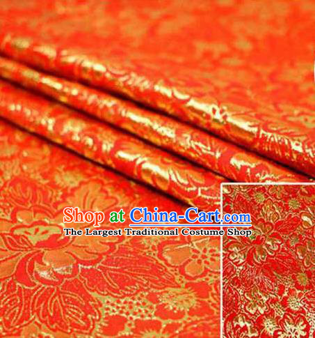 Chinese Classical Pattern Design Red Brocade Asian Traditional Hanfu Silk Fabric Tang Suit Fabric Material