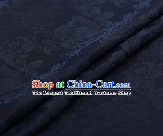 Chinese Traditional Peony Pattern Design Navy Blue Satin Watered Gauze Brocade Fabric Asian Silk Fabric Material