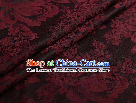 Chinese Traditional Peony Pattern Design Brown Satin Watered Gauze Brocade Fabric Asian Silk Fabric Material