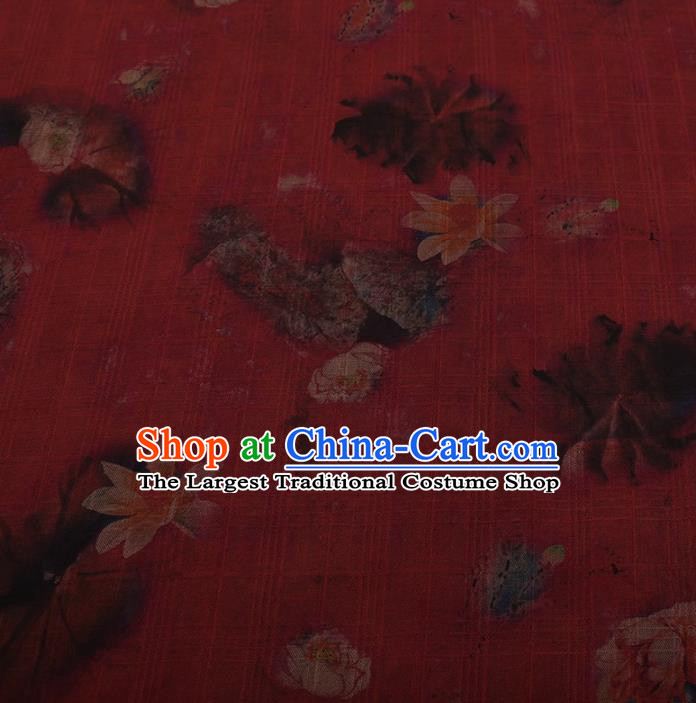 Traditional Chinese Satin Classical Lotus Pattern Design Red Watered Gauze Brocade Fabric Asian Silk Fabric Material