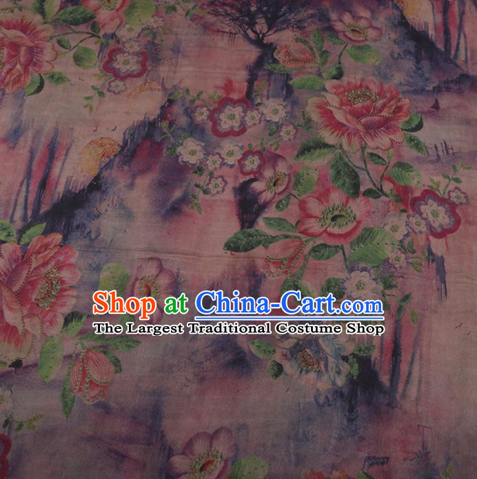 Traditional Chinese Satin Classical Peony Pattern Design Pink Watered Gauze Brocade Fabric Asian Silk Fabric Material