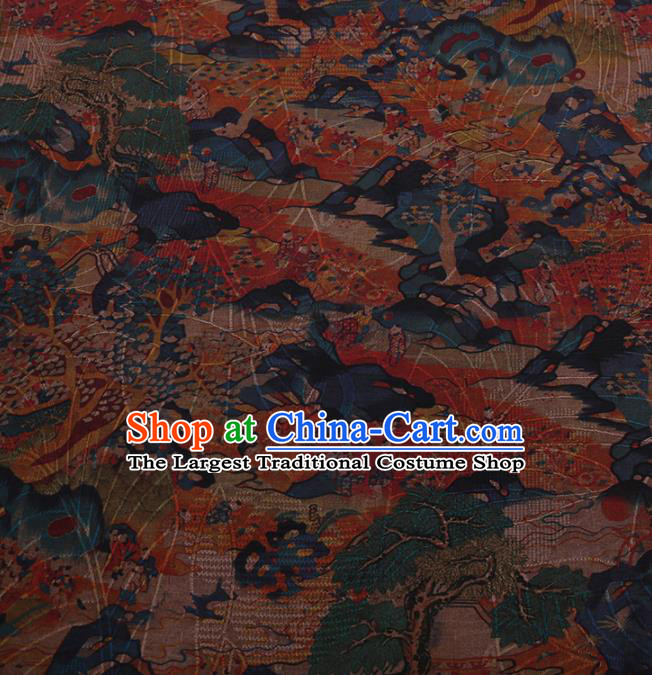 Traditional Chinese Satin Classical Children Pattern Design Watered Gauze Brocade Fabric Asian Silk Fabric Material
