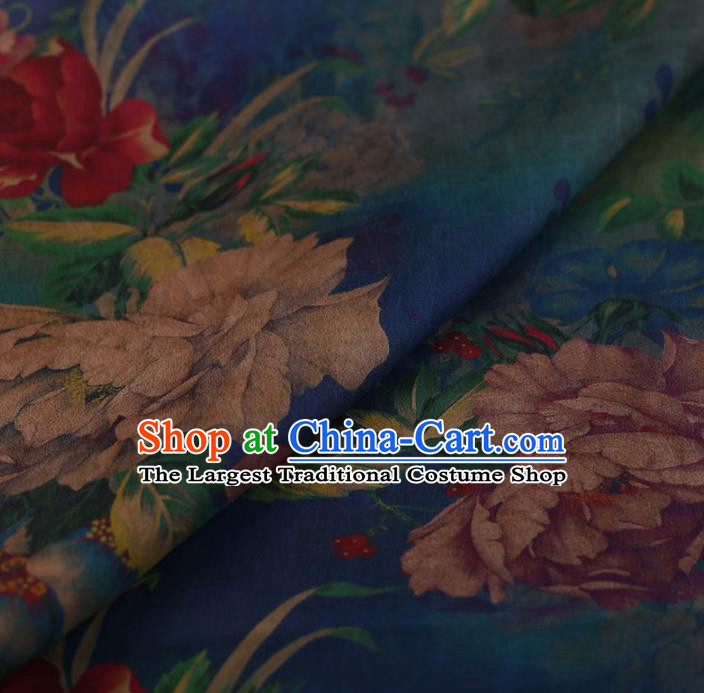 Traditional Chinese Satin Classical Peony Pattern Design Blue Watered Gauze Brocade Fabric Asian Silk Fabric Material