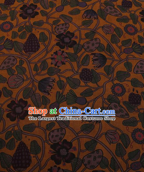 Traditional Chinese Satin Classical Strawberry Pattern Design Yellow Watered Gauze Brocade Fabric Asian Silk Fabric Material