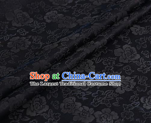 Chinese Traditional Roses Pattern Design Black Satin Watered Gauze Brocade Fabric Asian Silk Fabric Material