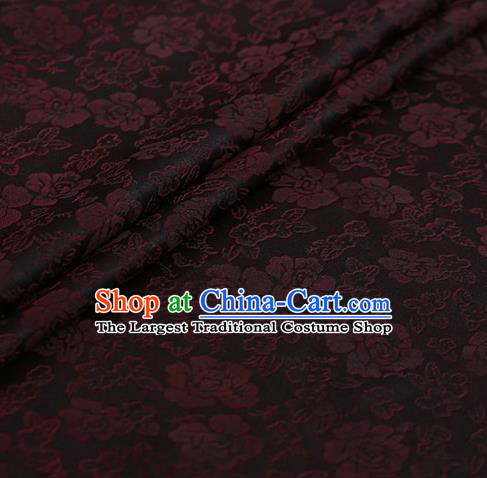 Chinese Traditional Roses Pattern Design Brown Satin Watered Gauze Brocade Fabric Asian Silk Fabric Material
