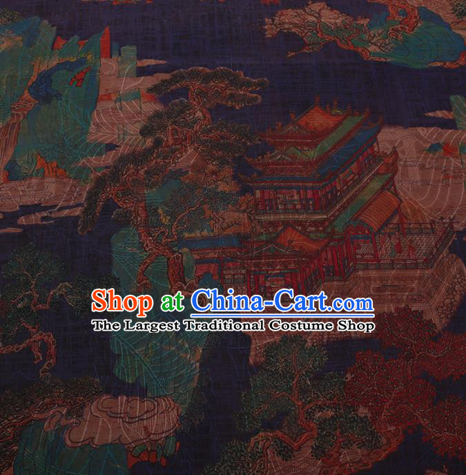 Traditional Chinese Satin Classical Palace Pattern Design Navy Watered Gauze Brocade Fabric Asian Silk Fabric Material