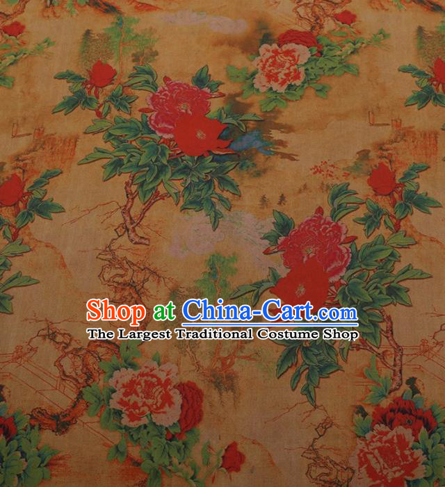 Traditional Chinese Satin Classical Peony Pattern Design Yellow Watered Gauze Brocade Fabric Asian Silk Fabric Material