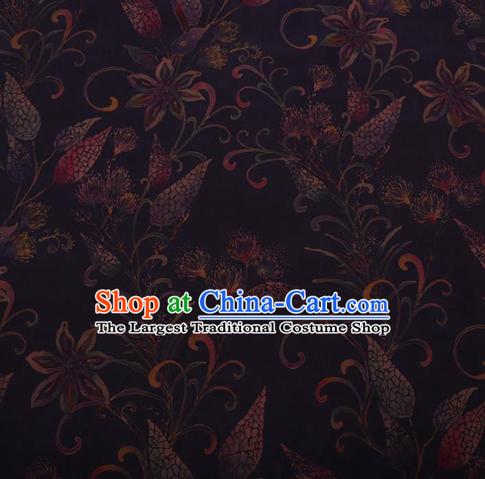 Traditional Chinese Satin Classical Panicle Pattern Design Purple Watered Gauze Brocade Fabric Asian Silk Fabric Material