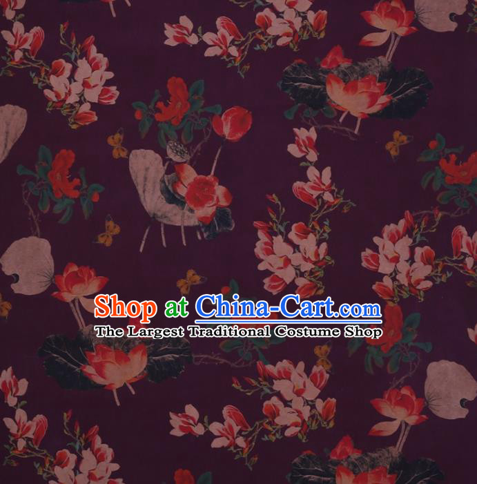 Traditional Chinese Satin Classical Yulan Magnolia Pattern Design Purple Watered Gauze Brocade Fabric Asian Silk Fabric Material