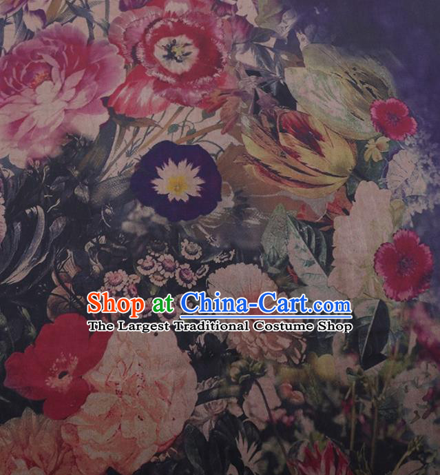 Traditional Chinese Satin Classical Petunia Peony Pattern Design Watered Gauze Brocade Fabric Asian Silk Fabric Material