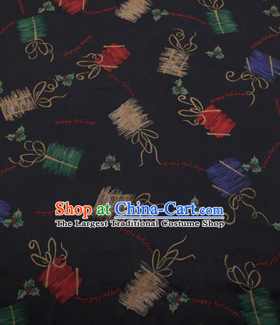 Traditional Chinese Satin Classical Pattern Design Black Watered Gauze Brocade Fabric Asian Silk Fabric Material