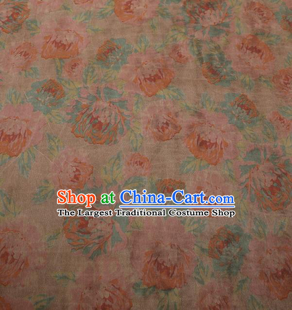 Traditional Chinese Satin Classical Pattern Design Pink Watered Gauze Brocade Fabric Asian Silk Fabric Material
