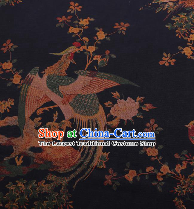 Traditional Chinese Satin Classical Phoenix Pattern Design Navy Watered Gauze Brocade Fabric Asian Silk Fabric Material