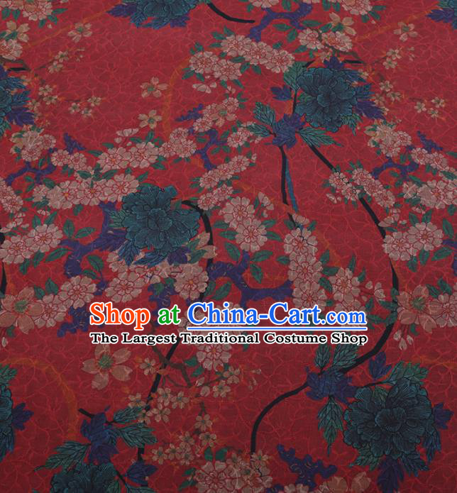 Traditional Chinese Satin Classical Peach Blossom Pattern Design Watermelon Red Watered Gauze Brocade Fabric Asian Silk Fabric Material