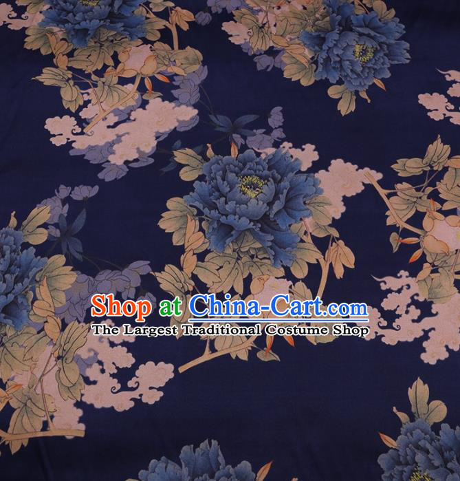 Traditional Chinese Satin Classical Peony Pattern Design Navy Watered Gauze Brocade Fabric Asian Silk Fabric Material