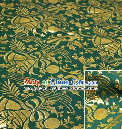 Chinese Classical Pattern Design Deep Green Brocade Asian Traditional Hanfu Silk Fabric Tang Suit Fabric Material