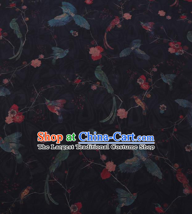 Traditional Chinese Satin Classical Birds Pattern Design Black Watered Gauze Brocade Fabric Asian Silk Fabric Material