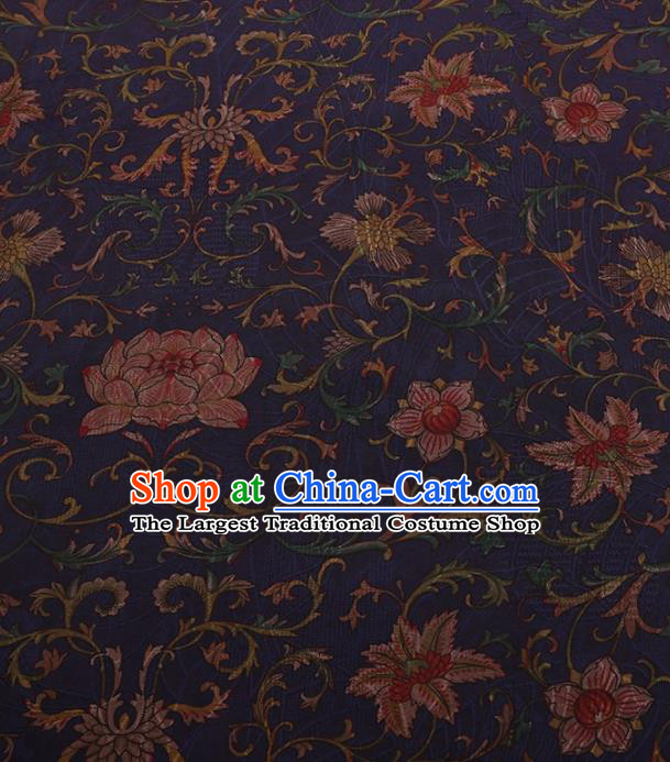 Traditional Chinese Satin Classical Lotus Pattern Design Navy Watered Gauze Brocade Fabric Asian Silk Fabric Material