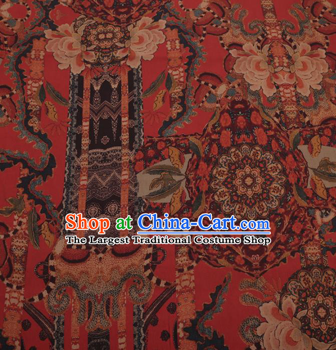 Traditional Chinese Satin Classical Pattern Design Red Watered Gauze Brocade Fabric Asian Silk Fabric Material